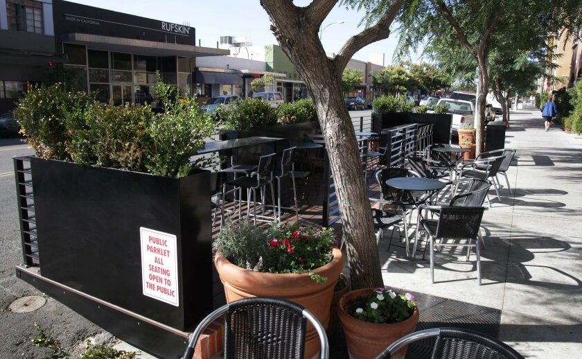 San Diego's first parklet is located in front of Caffe Calabria in North Park.