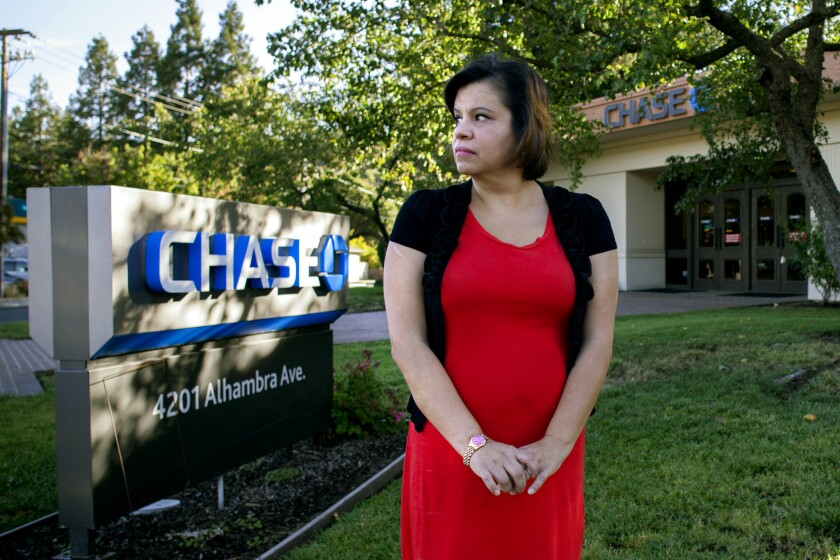 Estela Slikker at a Chase branch in Martinez, Calif., where she worked in 2011. She said it was more difficult for workers to set up unauthorized accounts at Chase than at Wells Fargo, where she later worked.