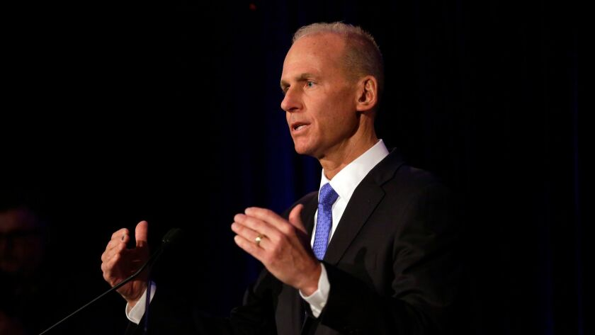 Boeing Chief Executive Officer Dennis Muilenburg speaks during a press conference after the Boeing annual general meeting in Chicago in April 2019.