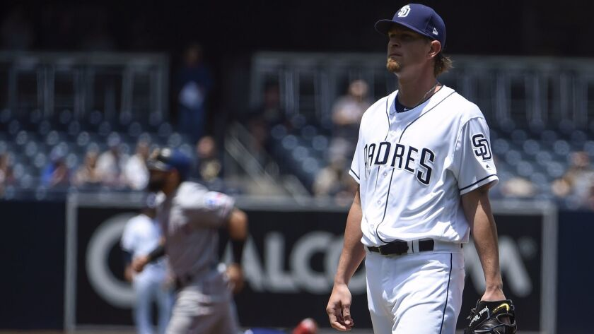 SAN DIEGO, CA - MAY 9: Jered Weaver #27 of the San Diego Padres stands on the mound after giving up