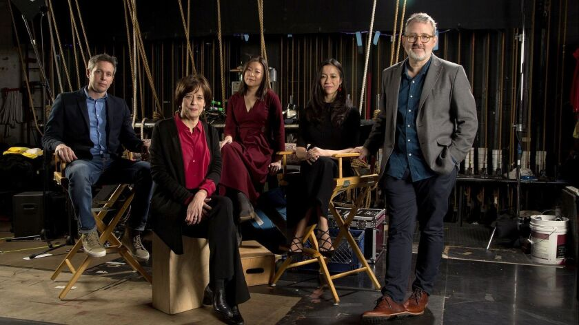 """The Envelope gathers documentary directors for a roundtable: from left, Tim Wardle (""""Three Identical Strangers""""), Betsy West (""""RBG""""), Sandi Tan (""""Shirkers""""), Elizabeth Chai Vasarhelyi (""""Free Solo"""") and Morgan Neville (""""Won't You Be My Neighbor"""")."""