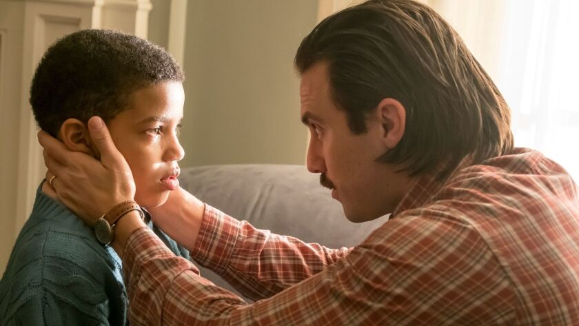 """Lonnie Chavis, left, and Milo Ventimiglia in NBC's hit show """"This is Us,"""" which helped drive interest in the network's just-concluded upfront ad sales market."""