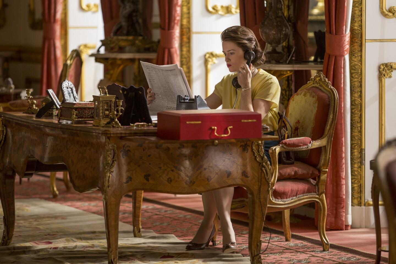 Claire Foy as Queen Elizabeth II inside Buckingham Palace.
