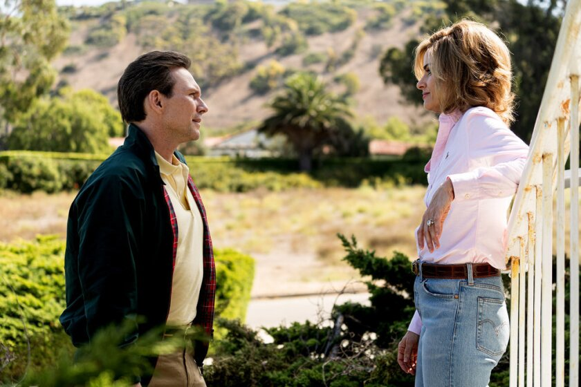 "Christian Slater, left, and Amanda Peet as Dan and Betty Broderick in Season 2 of ""Dirty John."""
