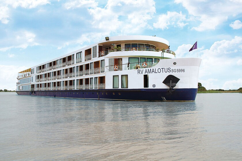AmaLotus river cruise ship on the Mekong River in Asia.