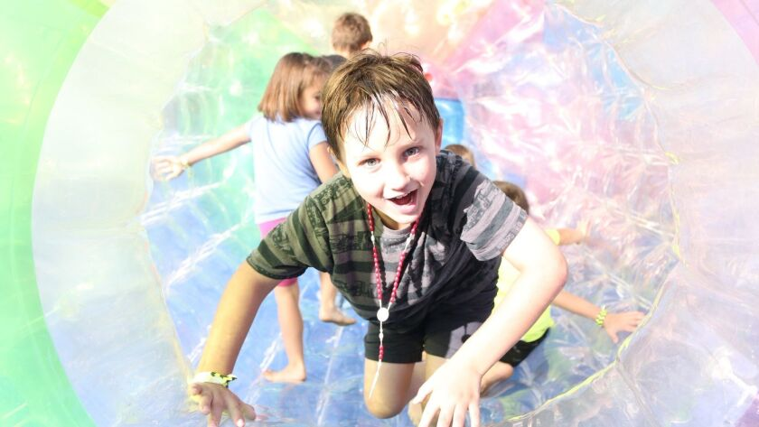 Roll around in a water ball at the San Diego Kids Expo & Fair.