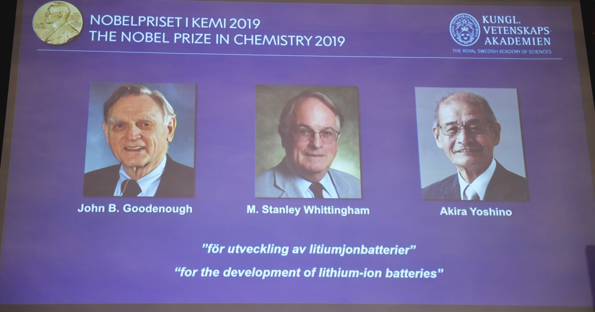 Nobel Prize in chemistry honors three scientists for their work on lithium-ion batteries