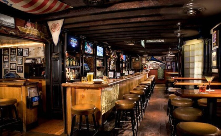 Inside the historic Waterfront Bar on Kettner Blvd. known as San Diego's oldest tavern and a great spot for Chargers viewing and free popcorn.