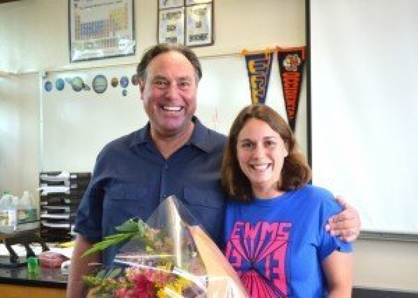 San Dieguito Union High School District Teacher of the Year Samantha Greenstein, of Earl Warren Middle School, with her father, Torrey Pines High teacher Simeon Greenstein. Courtesy photo