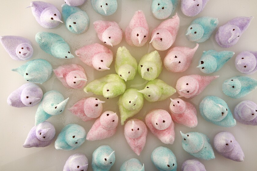Peeps are marshmallow candies that are shaped into chicks, bunnies, and other animals.