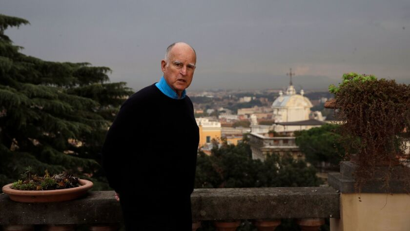 California Gov. Jerry Brown poses for a photo after an interview with the Associated Press in Rome,