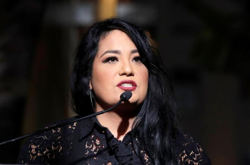 Suzette Quintanilla, the sister of the late US-Mexican singer Selena Quintanilla, speaks at her posthumous star ceremony on the Hollywood Walk of Fame in Hollywood, California. EFE/EPA/Archivo