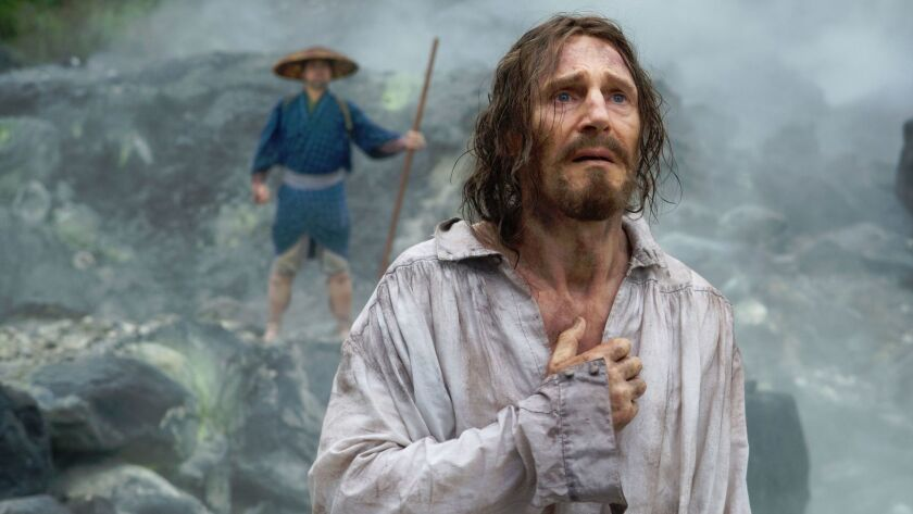 "Liam Neeson in Martin Scorsese's ""Silence,"" an exploration of big ideas cleverly wrapped in atmospheric minimalism."