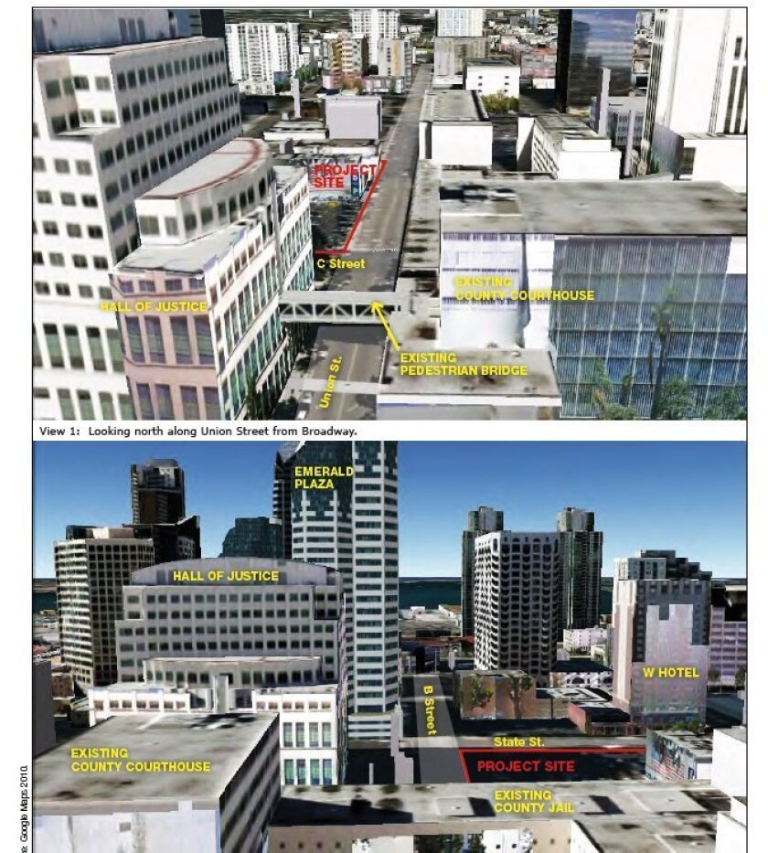 The environmental impact report shows the location of the proposed state-built courthouse for downtown San Diego.