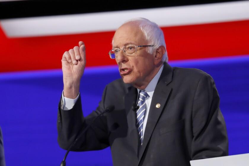 Sen. Bernie Sanders participates in a Democratic debate