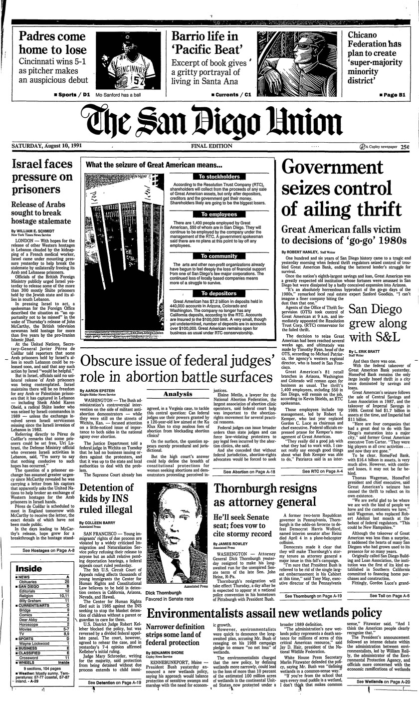 Front page of The San Diego Union, Aug. 10, 1991.