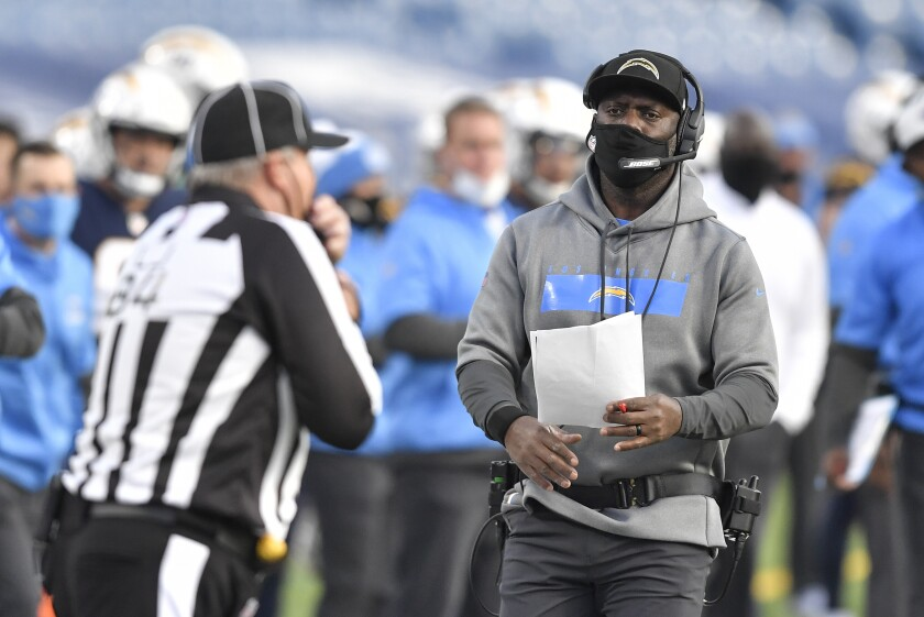 Los Angeles Chargers head coach Anthony Lynn on the sideline Sunday during loss to Buffalo Bills in Orchard Park, N.Y.