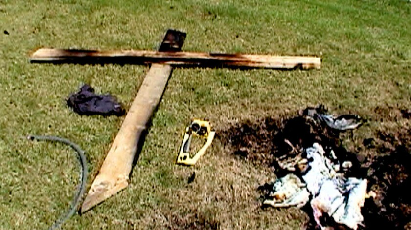 A 10-foot-tall cross was set ablaze in the front yard of an Anaheim Hills home. African Americans we