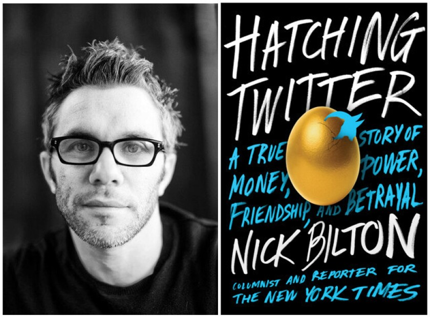 "Author Nick Bilton and the cover of the book, ""Hatching Twitter."""