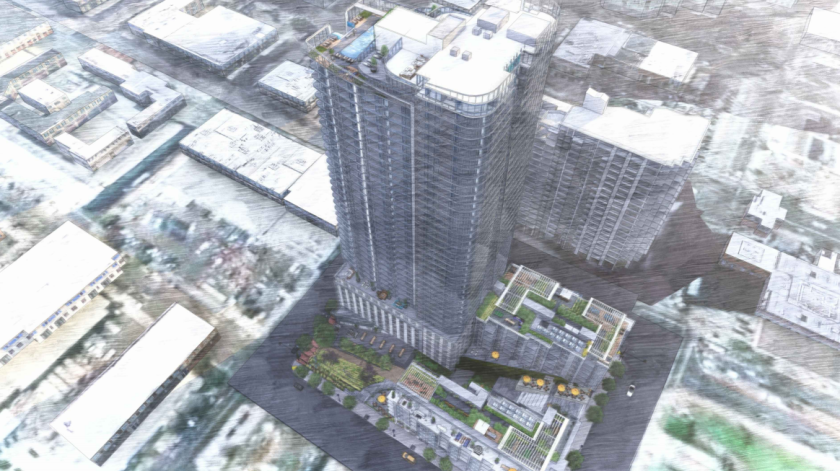 Rendering of the Park and Broadway project from Liberty National.