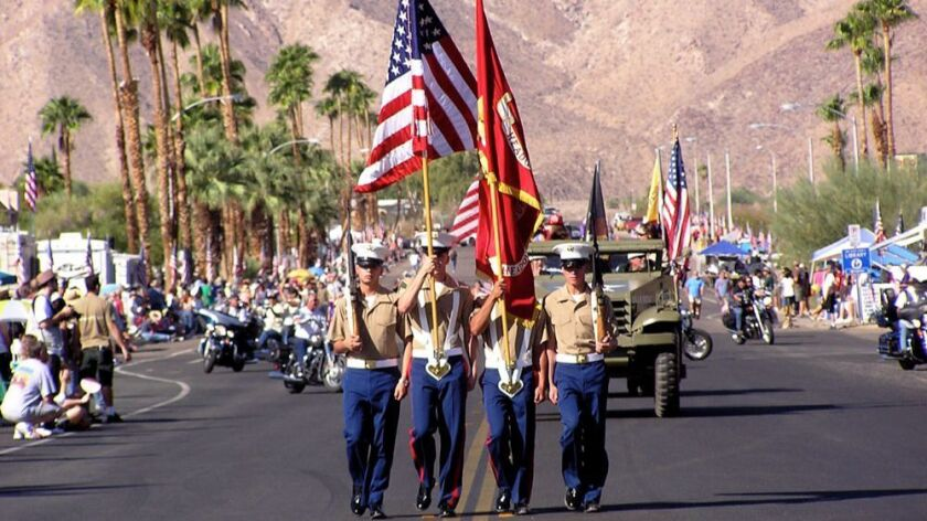 Color Guard members lead the parade at the Borrego Days Desert Festival.