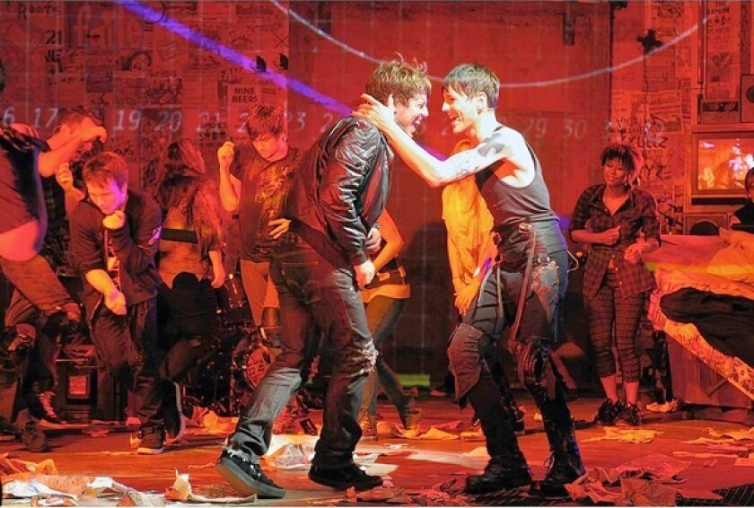 "John Gallagher Jr., left, and Tony Vincent are shown in ""American Idiot."""