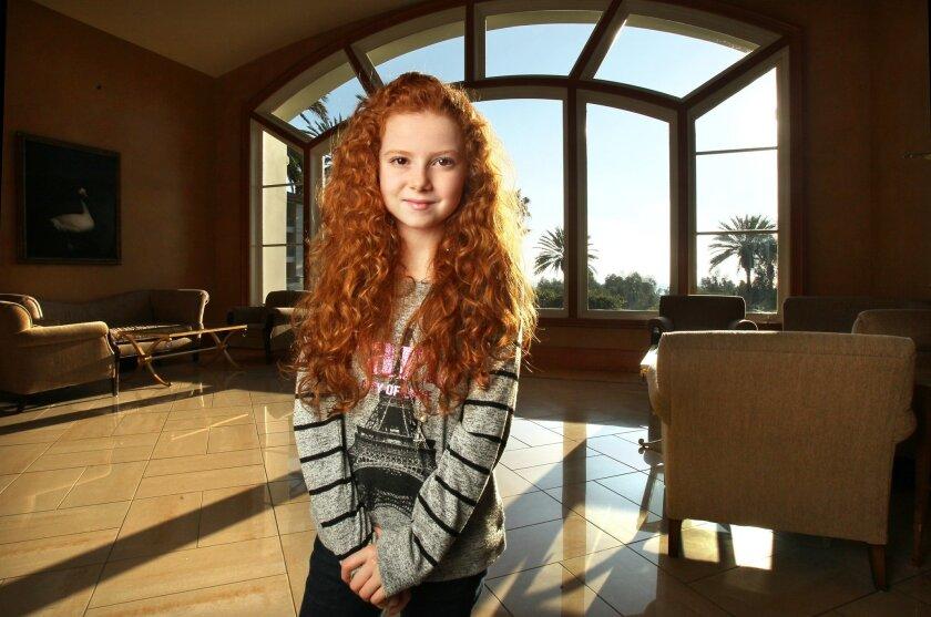 Portrait of actress Francesca Capaldi, 10, taken at the Park Hyatt Aviara hotel in Carlsbad.
