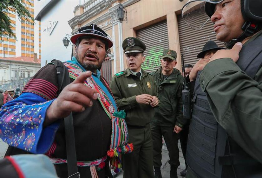 Leader of Bolivia's indigenous Qhara Qhara nation, Zenobio Fernandez (l.), arrives in La Paz on March 18, 2019, as his community disputes with Spain and Colombia the ownership of the Spanish galleon San Jose, sunk off Cartagena in 1708 carrying $17 billion in gold and silver. EFE-EPA/Martin Alipaz