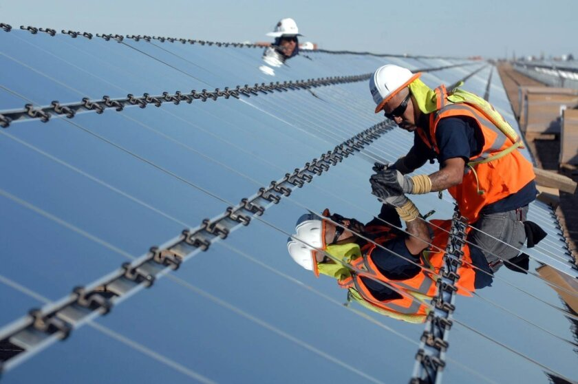 Newly-installed solar panels at the CSolar South project in the Imperial Valley.