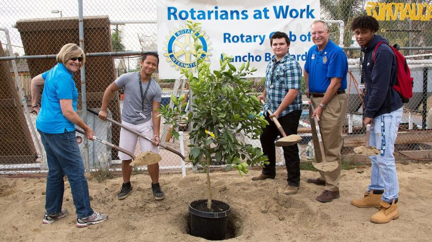 Judy Lutticken (Rotary project manager), Raphael Magante, Seth Francis, Mike Fugua (Rotary president) and Julien Bing plant one of the trees.