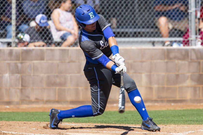 Eastlake's Keoni Cavaco (shown in an earlier game) was 3-for-3 with a homer, three runs scored, two RBIs and a stolen base in the Titans' win over Rancho Bernardo on Friday.