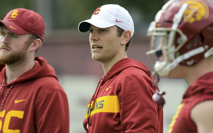 Graham Harrell laughs off suggestions he wasn't calling USC's plays against BYU