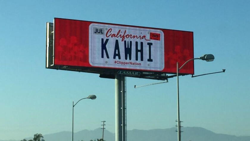 A pair of billboards urging NBA Finals most valuable player Kawhi Leonard to move to Southern Califo