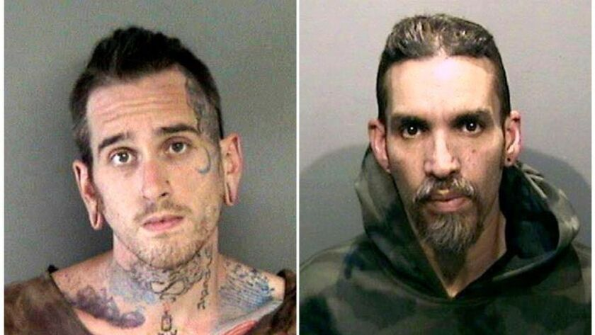 Max Harris, left, faces involuntary manslaughter charges, along with Derick Ion Almena in the December 2016 warehouse fire in Oakland that killed 36 people.