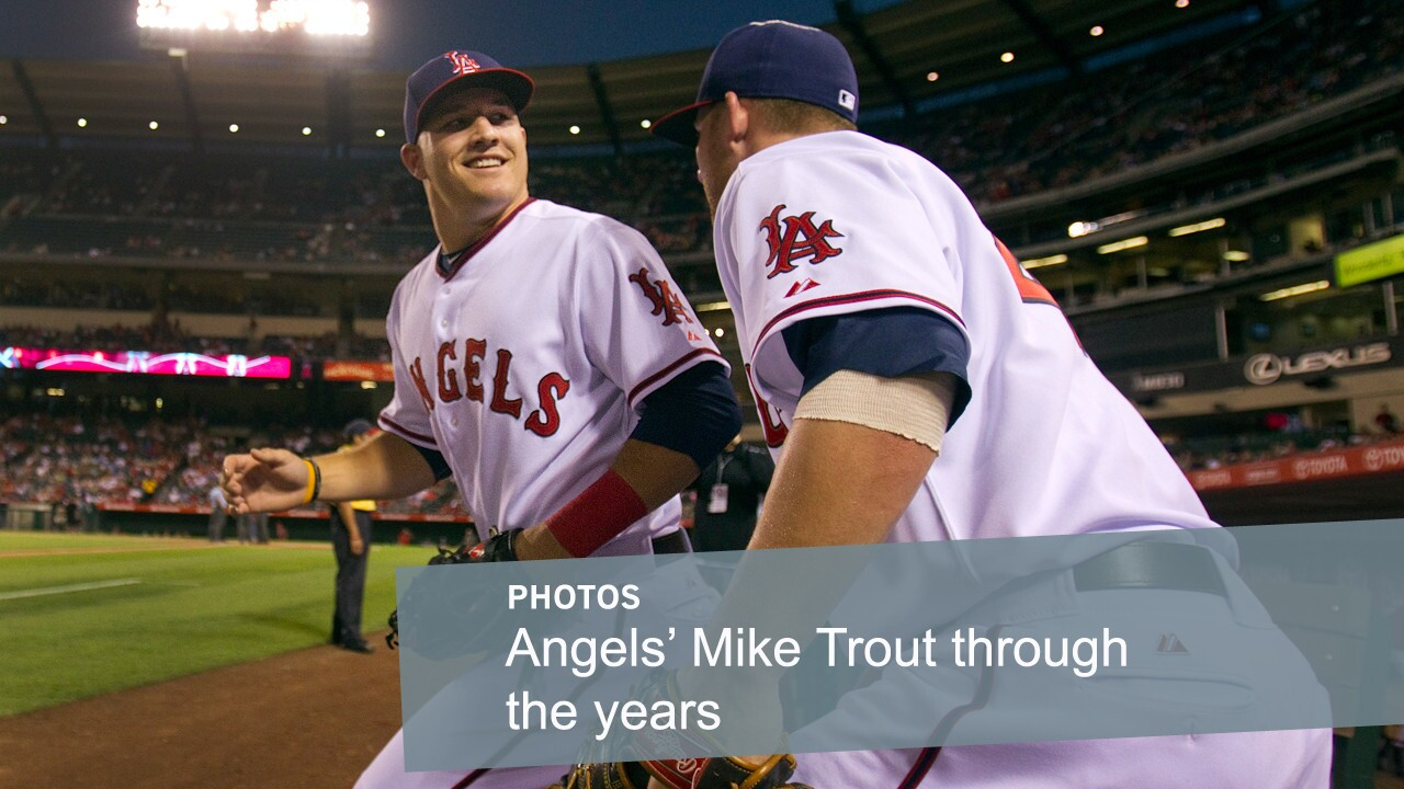 Mike Trout takes the field