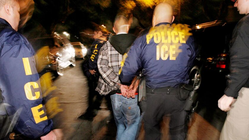 **FILE**Immigration and Customs Enforcement (ICE) officers arrest a suspect during a pre-dawn raid i