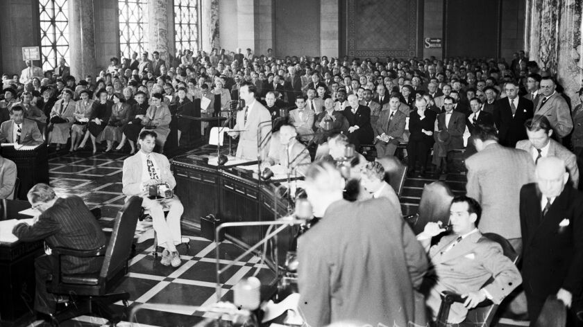 A 1951 hearing on public housing in Los Angeles. A year prior, Californians added to the state constitution a requirement for voter approval before the building of public housing, a provision that still exists.