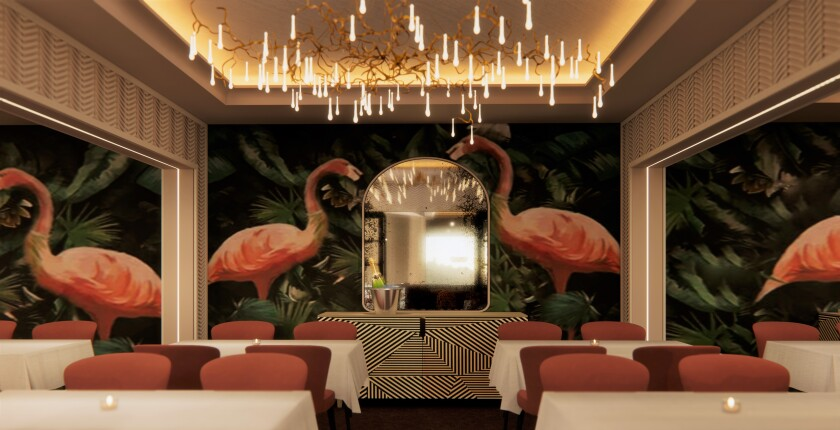 An artist's rendering of the planned Bugsy and Meyer's Steakhouse at the Flamingo Las Vegas with paintings of the pink birds on the walls.
