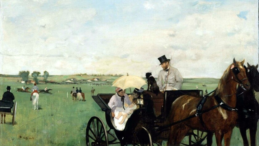 """At the Races in the Countryside"" by Edgar Degas is among the works contrasting cities and the surrounding countryside to be exhibited at the Bellagio Gallery of Fine Art."