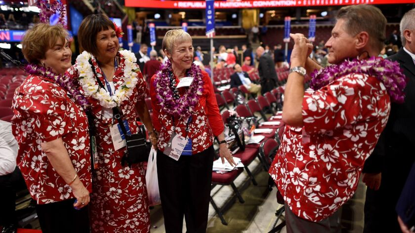 Hawaii delegates gather at the Republican National Convention last year in Cleveland.