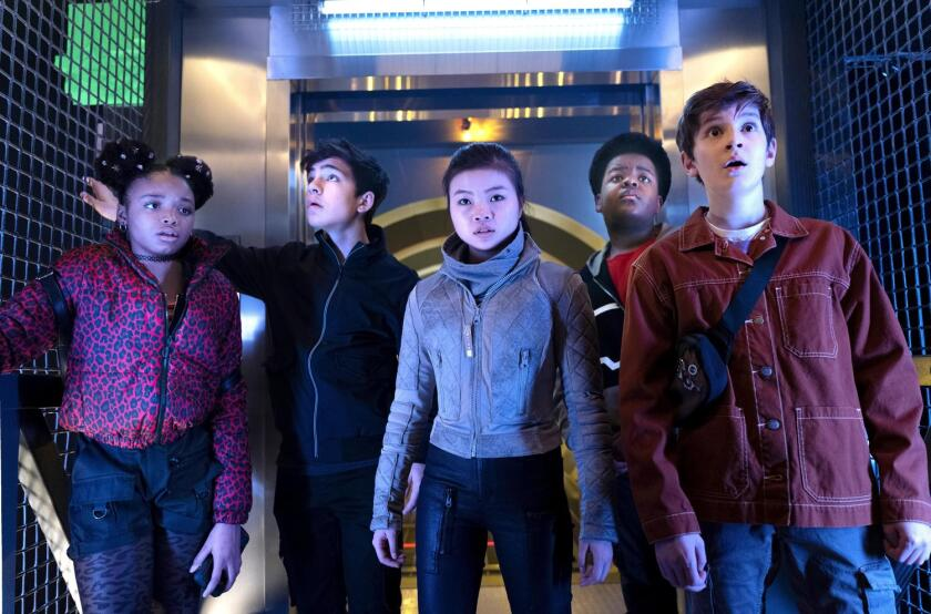 "Kayden Grace Swan, left, Bryce Gheisar, Miya Cech, Keith L Williams and Ben Daon in ""The Astronauts."""
