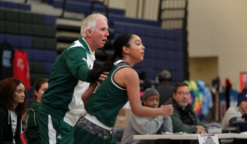 Poway coach Jay Trousdale sends Shanel Jamison onto the court in a recent game.
