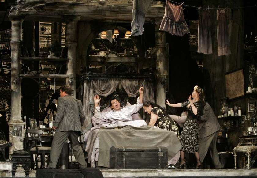 "Thomas Allen, in bed, performed the title role in Puccini's ""Gianni Schicchi"" when the Woody Allen-directed production was presented at the Dorothy Chandler Pavilion in 2008."