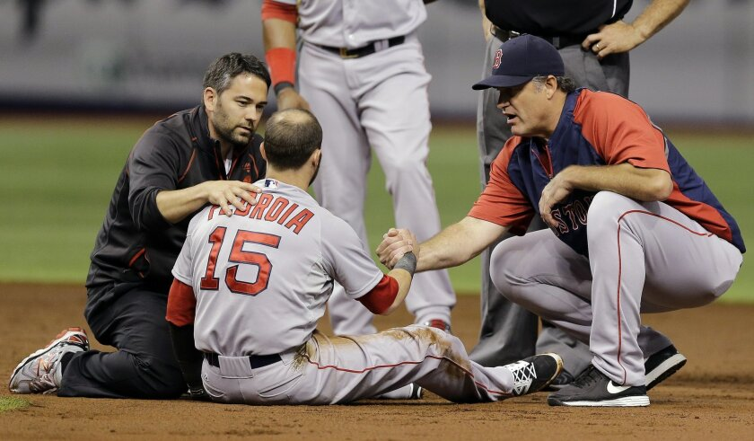 Boston Red Sox second baseman Dustin Pedroia, center, is helped by manager John Farrell, right, and a trainer after suffering an injury in a collision with Tampa Bay Rays' Logan Forsythe at second during the second inning of a baseball game Saturday, Aug. 30, 2014, in St. Petersburg, Fla. Pedroia left the game. (AP Photo/Chris O'Meara)