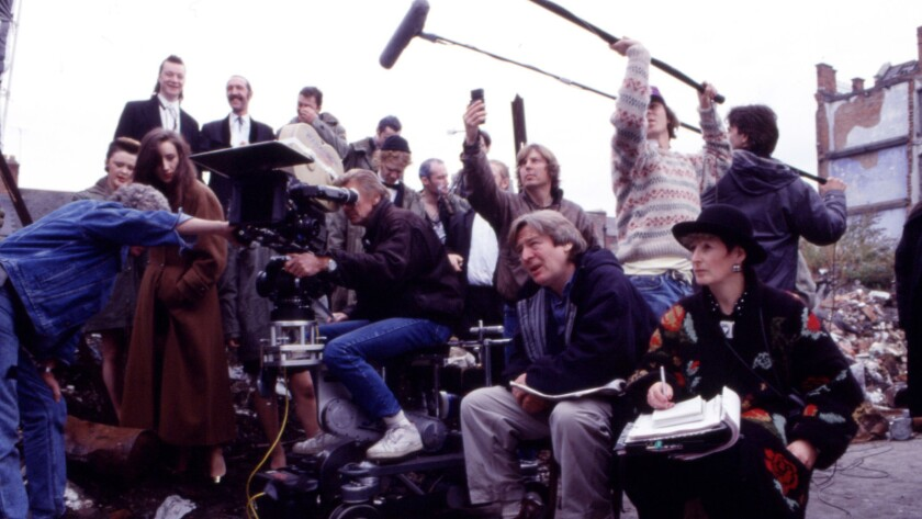 "Director Alan Parker on the set of ""The Commitments."""