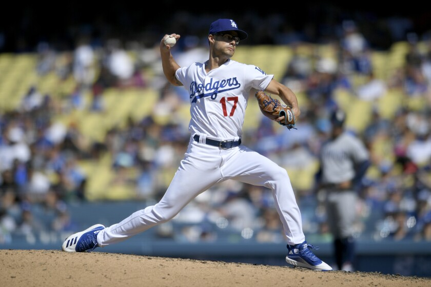 Dodgers reliever Joe Kelly delivers against the San Diego Padres on Aug. 4.