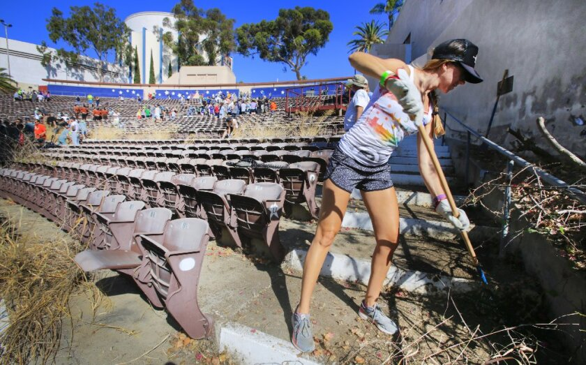 """In 2016, 300 community volunteers took part in a """"reverse gardening"""" project to clean up the long-shuttered Starlight Bowl amphitheater in Balboa Park."""