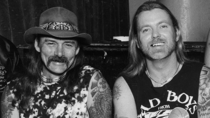 Dickey Betts, left and Gregg Allman at Central Park concert hall in Milwaukee, Wis., in 1989.