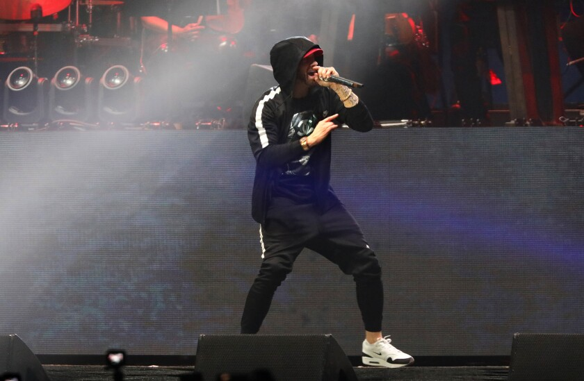 INDIO-CA-APRIL 22, 2018: Eminem closes Coachella Weekend 2 on Sunday, April 22, 2018. (Christina Hou