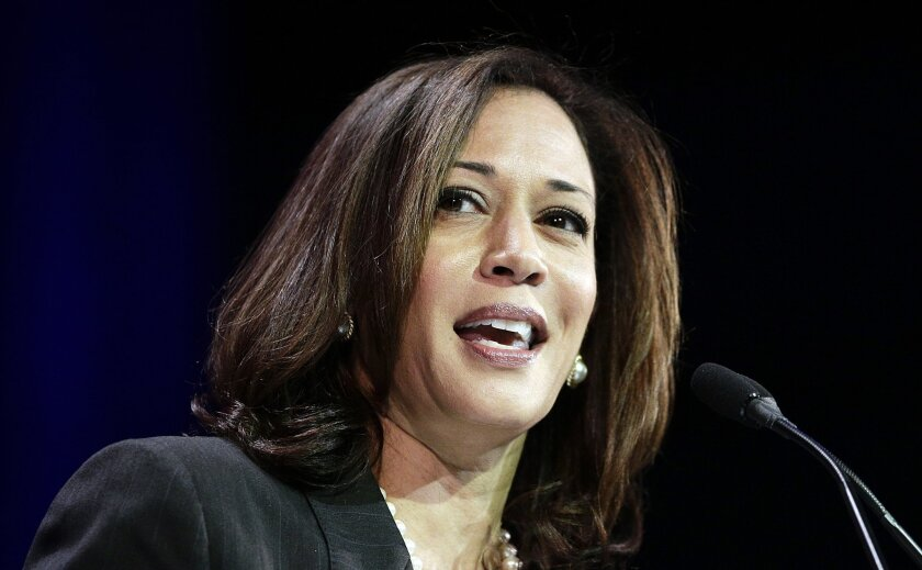 California Atty. Gen. Kamala Harris speaks during a general session at the California Democratic State Convention in Los Angeles in March.